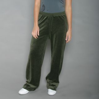 Ellen Tracy Womens Olive Velour Track Pants