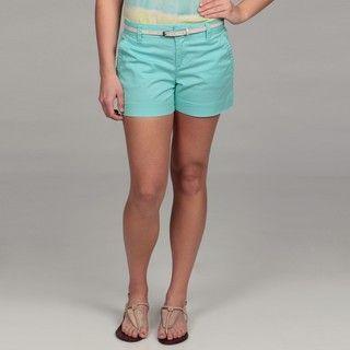 Calvin Klein Womens Rainwater Blue Belted Shorts