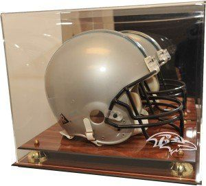 Baltimore Ravens Wood Finished Acrylic Helmet Display