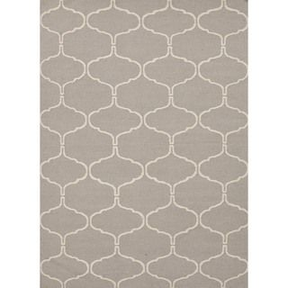 Handmade Geometric Flat Weave Gray Wool Rug (5 x 8)