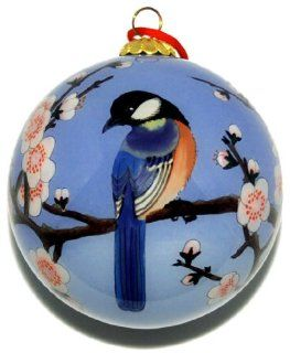 Ornament, Blue Birds with Pink Cherry Blossoms CO 181