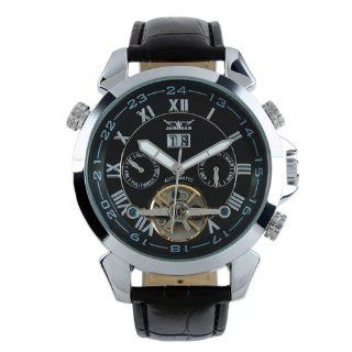 ESS Men Gent Black Tourbillon Date Aviator Automatic Mechanical Watch