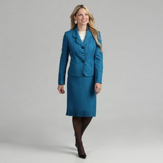 Le Suit Womens Capri Blue 3 button Skirt Suit