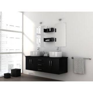 DIVA Salle de Bain noire double vasque 150cm   Achat / Vente MEUBLE