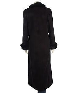 Marvin Richards Long Cashmere Blend Coat with Fur Trim
