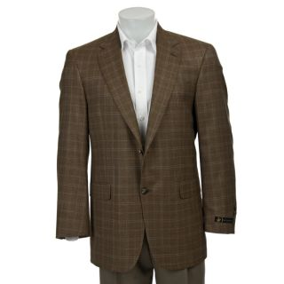 Hart Schaffner Marx Mens Light Brown Window Pane Sportcoat