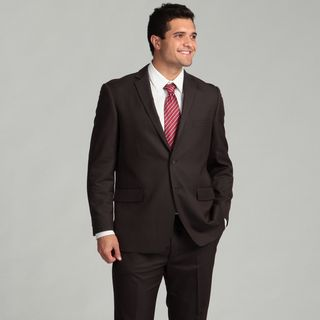 Perry Ellis Portfolio Mens Dark Grey Striped Two button Suit FINAL