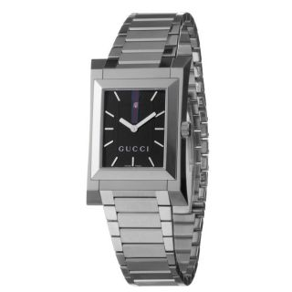 Gucci Mens 111 Stainless Steel Black Dial Quartz Watch