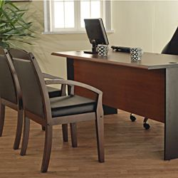 Lee and Smith Black/Cherry Three drawer Office Straight Desk