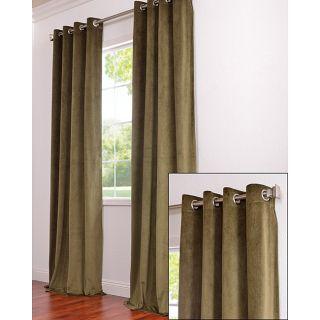 Grommet Moss Green Velvet 120 Inch Curtain Panel