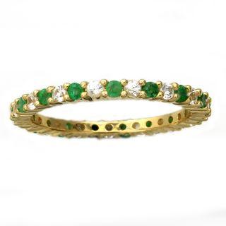 Beverly Hills Charm 10k Yellow Gold 7/8ct TGW Emerald/ White Sapphire
