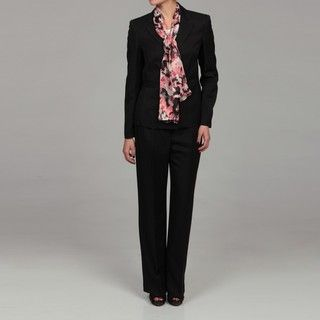 Evan Picone Womens Black Three button Pant Suit