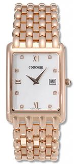 Concord Veneto Mens White Dial Rose Gold Watch