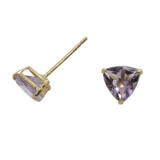 10k Yellow Gold Trillion cut Amethyst Stud Earrings