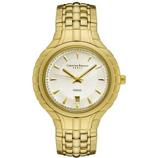 Christian Bernard Mens Goldtone Steel Case Silver Dial Watch