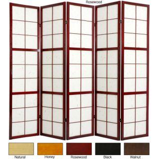 Wood and Rice Paper Mado 5 panel Room Divider (China)