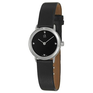 Calvin Klein Womens Minimal Stainless Steel and Leather Watch