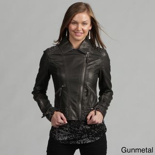 Miss Sixty Womens Faux Leather Studded Motorcycle