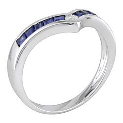 14k White Gold Diamond and Blue Sapphire Chevron Ring