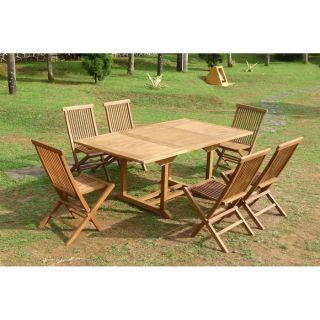 Salon de jardin teck 6/8 pers 6 chaises 120/180cm Rectangulaire INDI