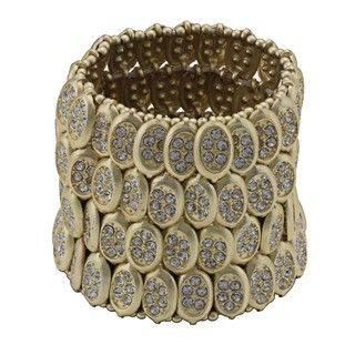 Morgan Ashleigh Goldtone Glass Stone Stretch Bracelet
