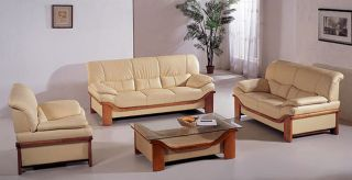 Beige Leather Sofa, Loveseat, and Chair Set