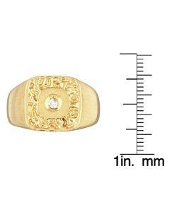 14k Yellow Gold Mens Diamond Nugget Ring