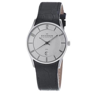 Skagen Mens Chrome Dial Black Leather Strap Date Watch