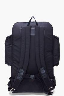 Stussy Deluxe Black Leather Trimmed Tramp Backpack for men