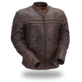 First Classics Mens Brown Leather Sporty Motorcycle Jacket
