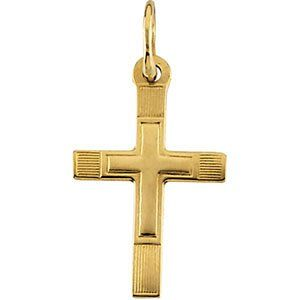 Childrens 14k Yellow Gold Cross in a Cross Engraved