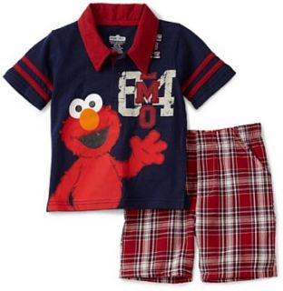 Sesame Street Baby Boys Infant Elmo Woven Polo And Short