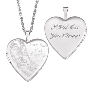 Sterling Silver I Will Miss You Always Footprints Locket Necklace