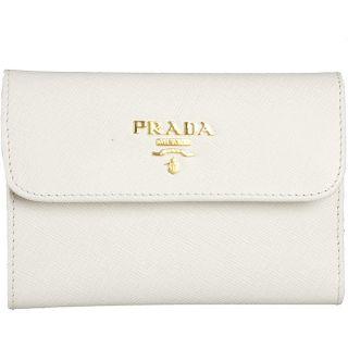 Prada White Saffiano Metal Tri fold Wallet