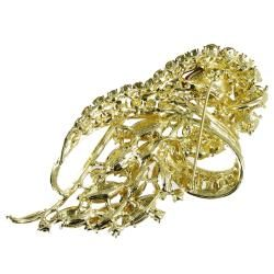 Cano Gold plating and Crystal Stones Flames Design Brooch