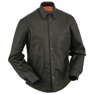 First Classics Mens Black Leather Concealment Shirt