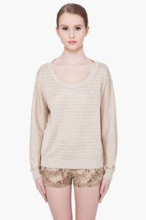 Haute Hippie Oatmeal Sequin Sweater for women