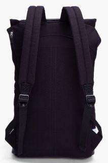 SLVR Black Leather Trimmed Mesh Backpack for men