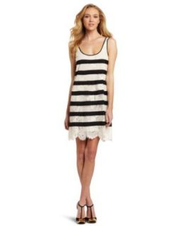 BCBGMAXAZRIA Womens Augustin Striped Lace Tank Dress