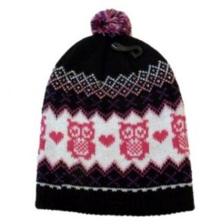 Ben Berger Hat Girls Black & Pink Knit Owl Beanie Stocking