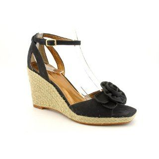 Ellen Tracy Biscayne Open Toe Wedge Sandals Shoes Black Womens