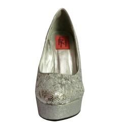 Fahrenheit Womens Gemma 01 Silver Wedge Platforms