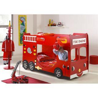LIT NON PLIANT BEBE Lit superposé enfant Camion de Pompier 90x200