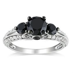 Miadora 10k White Gold 2ct TDW Black and White Diamond Ring (H I, I2