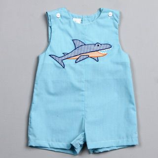 Petit Ami Infant Boys Shark Embroidered Coveralls