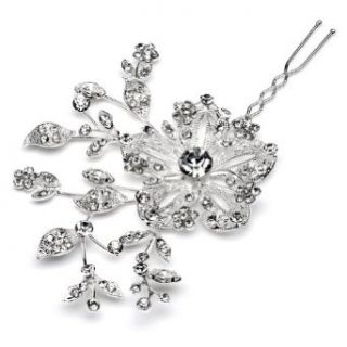 Bridal Hair Pin, Rhinestone Encrusted Flowers 195 Clothing