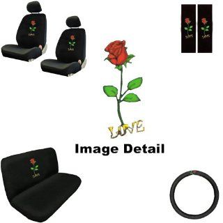 Love Red Rose Flower Auto Accessories Interior Car Truck SUV Combo Kit