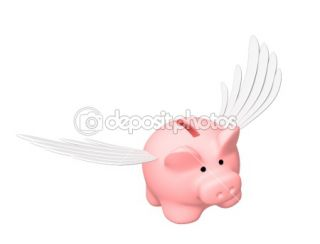 Piggy bank, flying on wings  Stock Photo © Natalia Lukiyanova