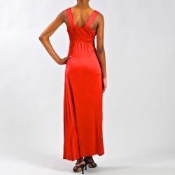 Meetu Magic Red Embroidered Neckline Maxi Dress