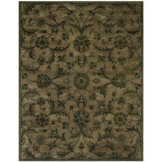 Handmade Antiquities Olive Green Wool Rug